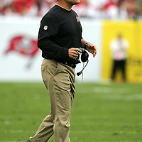 Bucs coach Greg Schiano yells during an NFL football game between the San Francisco 49ers  and the Tampa Bay Buccaneers on Sunday, December 15, 2013 at Raymond James Stadium in Tampa, Florida.. (Photo/Alex Menendez)