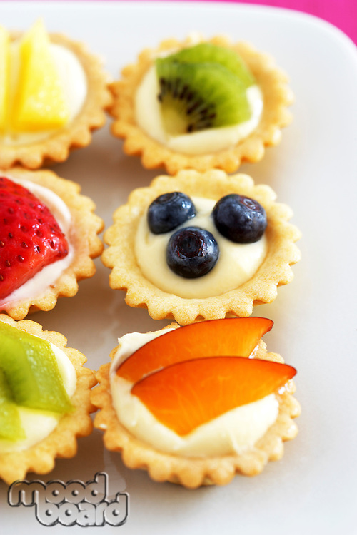 Close-up of mini fruit cupcakes elevated view