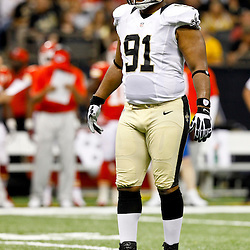September 23, 2012; New Orleans, LA, USA; New Orleans Saints defensive end Will Smith (91) against the Kansas City Chiefs during the second quarter of a game at the Mercedes-Benz Superdome. Mandatory Credit: Derick E. Hingle-US PRESSWIRE