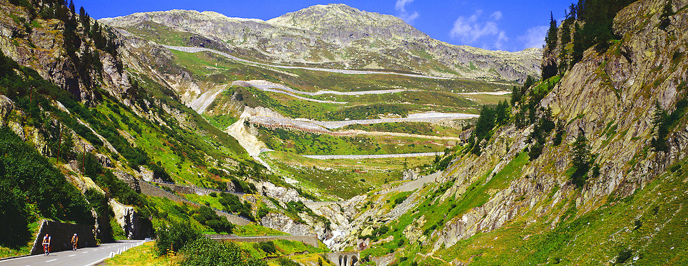 Panorama of Grimsel Pass with Bikers