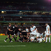 New Zealand run the clock down to win the World Cup during the New Zealand V France Final at the IRB Rugby World Cup tournament, Eden Park, Auckland, New Zealand. 23rd October 2011. Photo Tim Clayton...