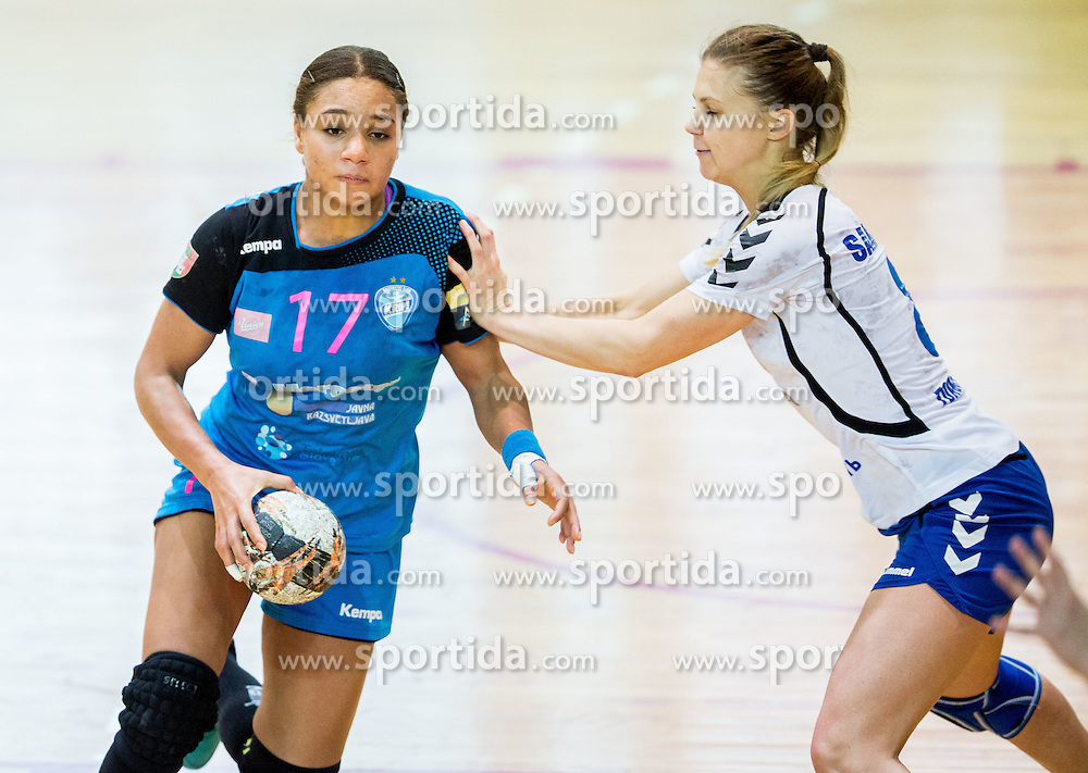 Elizabeth Omoregie of Krim vs Daria Samokhina of Lada during 2nd Leg handball match between RK Krim Mercator and HC Lada Togliatti (RUS) in Semifinal of Women Cup Winners' Cup 2015/16, on April 9, 2016 in Arena Kodeljevo, Ljubljana, Slovenia. Photo by Vid Ponikvar / Sportida