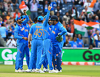 Cricket - 2019 ICC Cricket World Cup - Semi-Final: India vs. New Zealand<br /> <br /> India's Virat Kohli celebrates as  New Zealand's Kane Williamson is dismissed by India's Yuzvendra Chahal, caught by Ravindra Jadeja for 67, at Old Trafford, Manchester.<br /> <br /> COLORSPORT/ASHLEY WESTERN