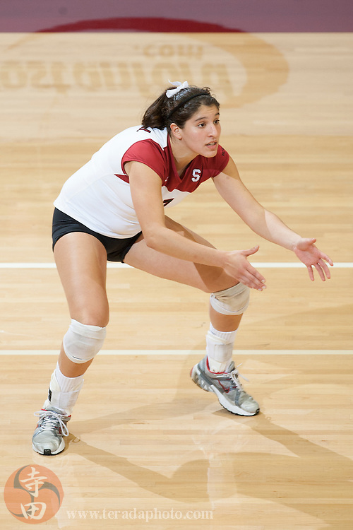 November 25, 2006; Stanford, CA, USA; Stanford Cardinal outside hitter/defensive specialist Heather Hernandez (7) during the game against the Washington State Cougars at Maples Pavilion. The Cardinal defeated the Cougars 30-27, 30-23, 30-18.