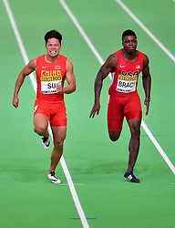 Su Bingtian(L) of China compets in the men's 60 metres semi-final during day two of the IAAF World Indoor Championships at Oregon Convention Center in Portland, Oregon, the United States, on March 18, 2016. EXPA Pictures © 2016, PhotoCredit: EXPA/ Photoshot/ Yin Bogu<br /> <br /> *****ATTENTION - for AUT, SLO, CRO, SRB, BIH, MAZ, SUI only*****