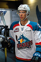 KELOWNA, CANADA - JANUARY 3: Kelvin Hair #3 of the Kelowna Rockets heads for the dressing room after warm up against the Tri-City Americans on January 3, 2017 at Prospera Place in Kelowna, British Columbia, Canada.  (Photo by Marissa Baecker/Shoot the Breeze)  *** Local Caption ***