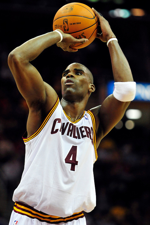 Feb. 16, 2011; Cleveland, OH, USA; Cleveland Cavaliers power forward Antawn Jamison (4) shoots a free throw during the third quarter against the Los Angeles Lakers at Quicken Loans Arena. Mandatory Credit: Jason Miller-US PRESSWIRE