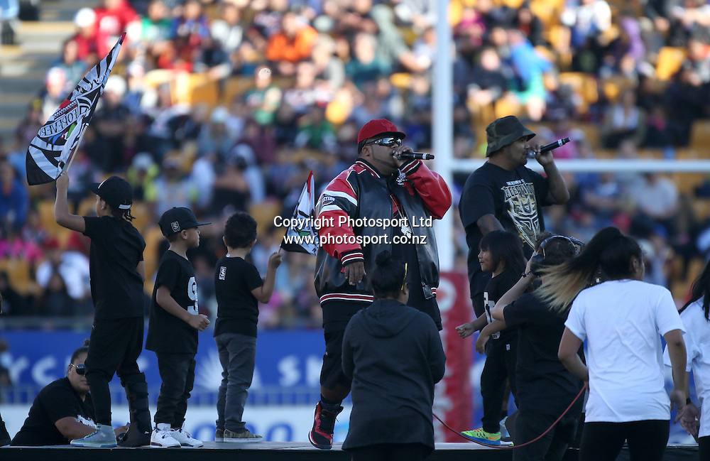 Savage and Fresh Movement entertain the crowd at half time during the NRL Rugby League match between the NZ Warriors and the Parramatta Eels played at Mt Smart Stadium in South Auckland on the 21st March 2015. <br /> <br /> Copyright Photo; Peter Meecham/ www.photosport.co.nz
