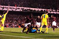 Photo: Alan Crowhurst.<br />Arsenal v Villarreal. UEFA Champions League. Semi-Final, 1st Leg. 19/04/2006. Kolo Toure (C) scores the opener for Arsenal.