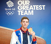 """Olympic Games London 2012 <br /> Boxing Medalists' Press Conference at Team GB House, Stratford, London, Great Britain <br /> 13th August 2012 <br /> <br /> """"Britain's boxers finished top of the pile with five medals, three of them Gold plus a Silver and  Bronze"""".<br /> <br /> Gold Medalists <br /> <br /> <br /> Luke Campbell (Bantamweight) <br /> <br /> <br />  <br /> <br /> Photograph by Elliott Franks"""