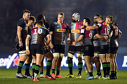 Alex Dombrandt of Harlequins looks on in a pre-match huddle - Mandatory byline: Patrick Khachfe/JMP - 07966 386802 - 13/12/2019 - RUGBY UNION - The Twickenham Stoop - London, England - Harlequins v Ulster Rugby - Heineken Champions Cup