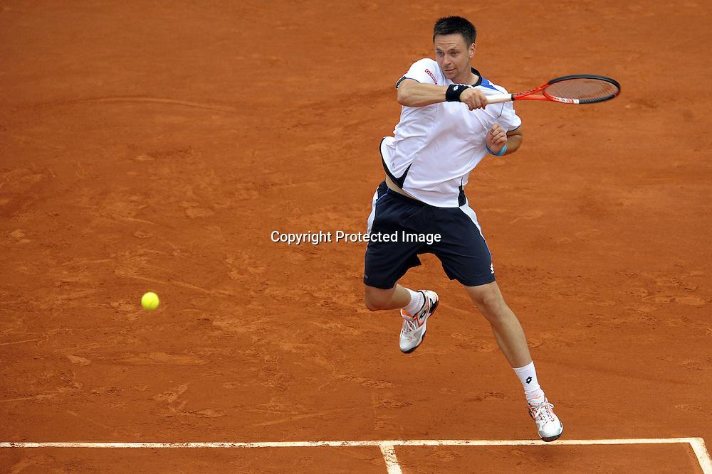 Roger Federer (sui) - Roland Garros 2010 - 01.06.2010 - J10 - ATP - Homme Hommes Messieurs Masculin - Tennis - Internationaux de France- RG2010 RG 2010 - largeur action coup droit