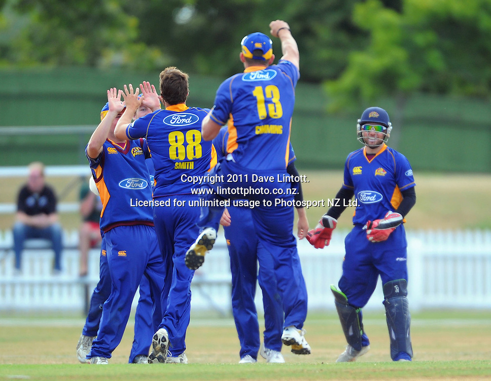 Volts captain Craig Cummings shows his delight after Ian Butler caught Michael Mason. One-day cricket - Central Stags v Otago Volts at Fitzherbert Park, Palmerston North, New Zealand on Sunday, 16 January 2011. Photo: Dave Lintott / photosport.co.nz