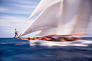 Coral of Cowes sailing in the Antigua Classic Yacht Regatta, Old Road Race.
