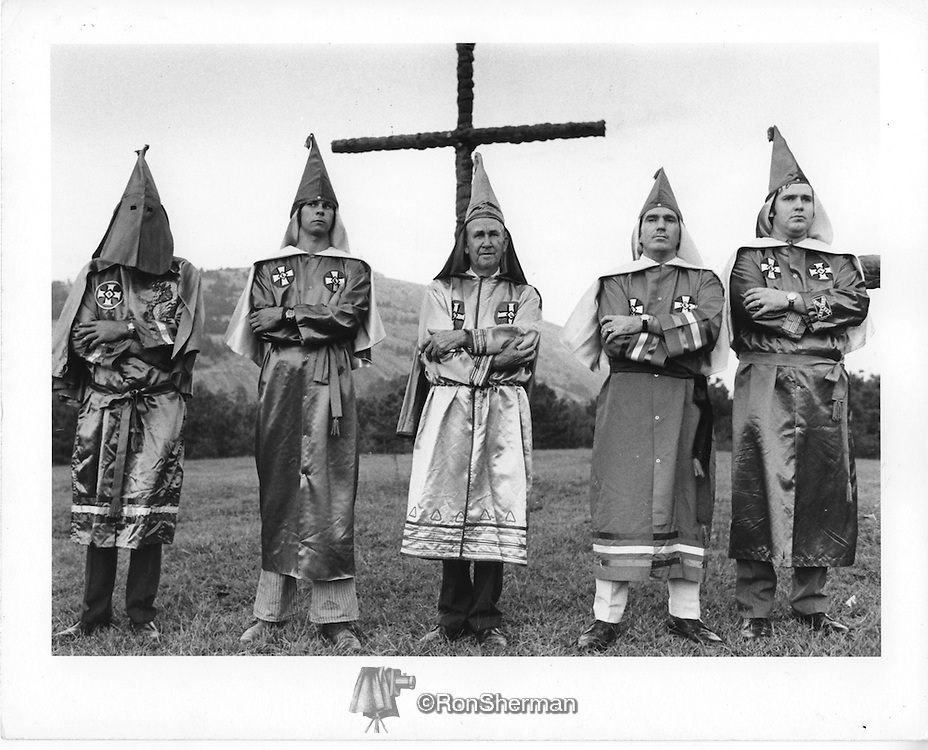 KKK Stone Mountain GA 1971.  James R. Venable, in the middle, Imperial Wizard of the National Knights of the Klan at a rally near Alanta in 1971.