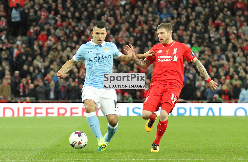 Sergio Aguero takes on Alberto Moreno