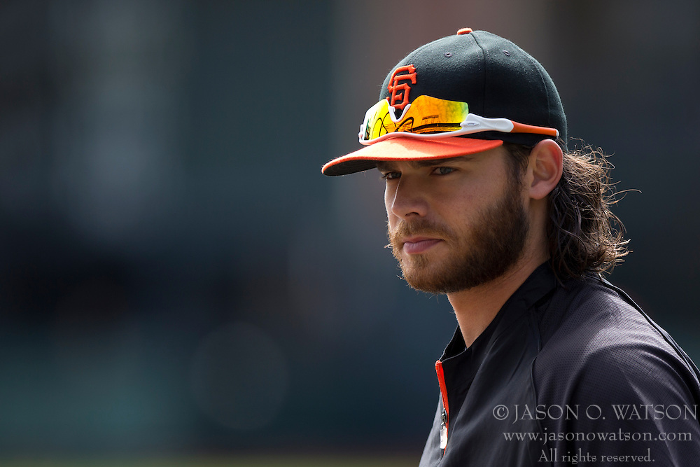 SAN FRANCISCO, CA - APRIL 26:  Brandon Crawford #35 of the San Francisco Giants looks on during batting practice before the game against the Cleveland Indians at AT&T Park on April 26, 2014 in San Francisco, California. The San Francisco Giants defeated the Cleveland Indians 5-3.  (Photo by Jason O. Watson/Getty Images) *** Local Caption *** Brandon Crawford