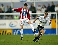 Fotball, 26. april 2003, Tippeligaen, Sogndal-Tromsø 3-1. Ole Andreas Nilsen, Tromsø, og Christian Kalvenes, Sogndal
