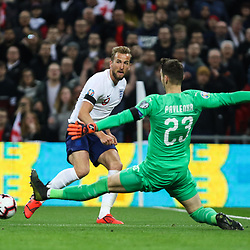 Harry Kane  of England crosses the ball with Jiri Pavlenka of Czech Republic challenging
