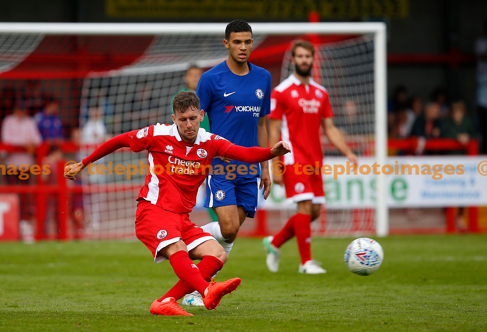 Mark Randall of Crawley clears the ball during the pre season friendly between Crawley Town and Chelsea XI at the Checkatrade Stadium in Crawley. 15 Jul 2017