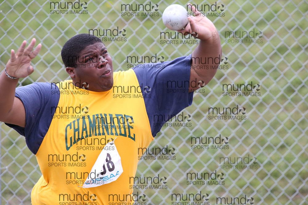 Damiene Thamas of Chaminade College - Toronto competes in the senior boys shot put at the 2013 OFSAA Track and Field Championship in Oshawa Ontario, Thursday,  June 6, 2013.<br /> Mundo Sport Images / Sean Burges