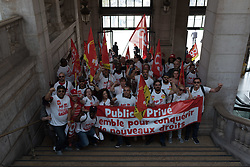 Around 100 CGT Commerce trade unionists gathered in front of the Saint-Lazare station before demonstrating in the station's shopping centre and in the station to raise awareness among shopkeepers and customers about their working conditions. Paris, France, May 22, 2018. Photo by Samuel Boivin / ABACAPRESS.COM