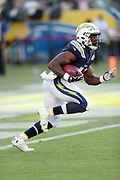 Los Angeles Chargers cornerback Randall Evans (41) returns a punt during the 2017 NFL week 1 preseason football game against the Seattle Seahawks, Sunday, Aug. 13, 2017 in Carson, Calif. The Seahawks won the game 48-17. (©Paul Anthony Spinelli)