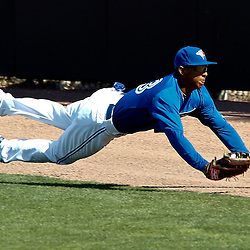March 8, 2011; Dunedin, FL, USA; Toronto Blue Jays center fielder Anthony Gose (43) dives and catches a fly ball by New York Yankees third baseman Bill Hall (40) to end the top of the sixth inning of a spring training game at Florida Auto Exchange Stadium. Mandatory Credit: Derick E. Hingle-USA TODAY SPORTS