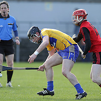 Clare's Nicky P'Connell about to gather possession under pressure from Down's Connor Mageean in Round 4 of the Allianz Hurling league @ Cusack Park. - Photograph by Flann Howard