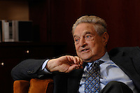 18 NOV 2006, BERLIN/GERMANY:<br /> George Soros, Investmentbanker, waehrend  einem Interview, Hotel Adlon<br /> IMAGE: 20061118-01-026