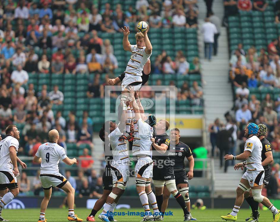Joe Launchbury of london Wasps during the Aviva Premiership match at Twickenham stadium, London<br />