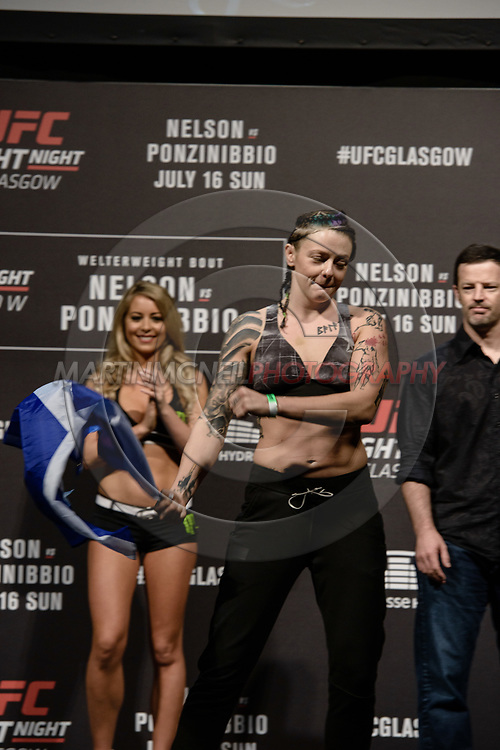 "GLASGOW, UNITED KINGDOM, JULY 15, 2017: Joanne Calderwood on stage during the ceremonial weigh-in for ""UFC Fight Night Glasgow: Nelson vs. Ponzinibbio"" inside the SSE Hydro Arena in Glasgow"