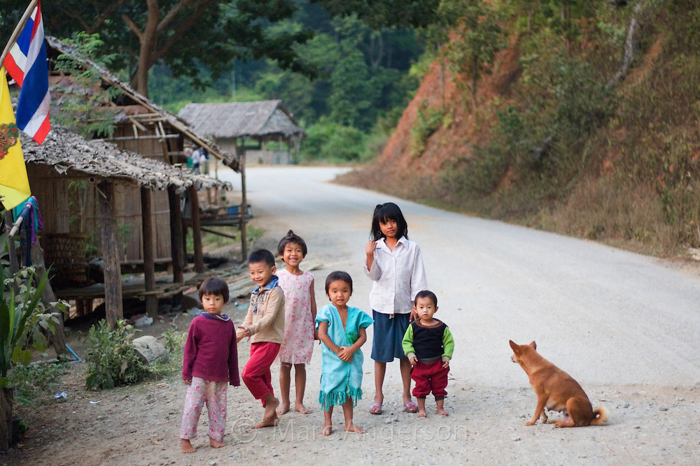 Group of young children smiling in Mae Sam Laep, a Burmese refugee settlement in Mae Hong Son Province, Thailand