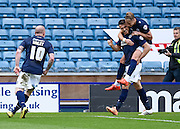 Lee Gregory celebrates after scoring from a penalty to make it 2-0 during the Sky Bet Championship match between Millwall and Derby County at The Den, London, England on 25 April 2015. Photo by David Charbit.
