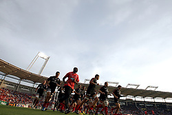 Stade Toulousain players warm up before the game. Toulouse v Castres, Top 14, Demi-Finale, Stade Municipal, Toulouse, France, June 2nd 2012