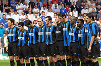 Photo: Daniel Hambury.<br /> Portsmouth v Inter Milan. Pre Season Friendly.<br /> 31/07/2005.<br /> After initial fears for their saftey the Inter Milan team observe na minutres silence in memory of the London terriost attacks.