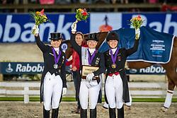Podium Grand Prix Special, Werth Isabel, GER, Schneider Dorothee, GER, Dufour Catherine, DEN<br /> European Championship Dressage<br /> Rotterdam 2019<br /> © Hippo Foto - Dirk Caremans
