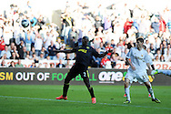 Wigan's Arouna Kone (2) scores the equaliser but the 'goal' is disallowed. Barclays Premier league, Swansea city v Wigan Athletic at the Liberty Stadium in Swansea, South Wales on Saturday 20th October 2012. pic by Andrew Orchard, Andrew Orchard sports photography,