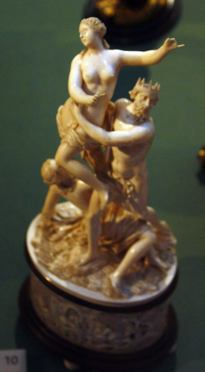 Workshop of the Belleteste family, Dieppe (1700s or early 1800's). after Francois Girardon (1628-1715) The Rape of Proserpine. Ivory, ebons and coloured foil.