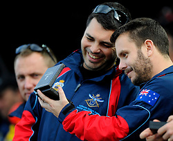 Australian Athletes admire their medals - Photo mandatory by-line: Joe Meredith/JMP - Mobile: 07966 386802 - 14/09/14 - The Invictus Games - Day 4 - Closing Ceremony - London - Queen Elizabeth Olympic Park