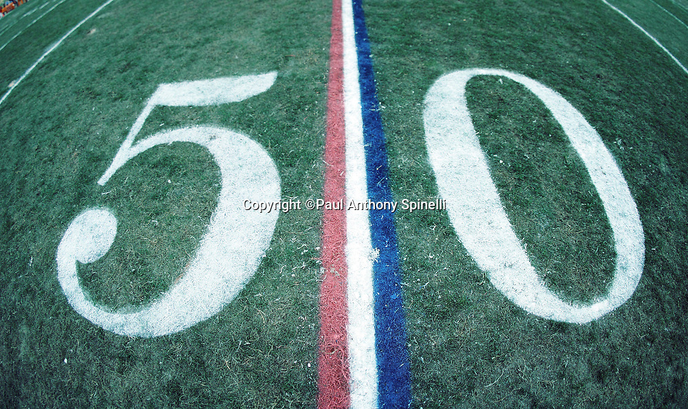 The mid-field stripe is painted red, white, and blue as it is flanked by the 50 yard line number before the Carolina Panthers NFL football game against the Atlanta Falcons on Dec. 17, 1995 in Charlotte, N.C. The Panthers won the game 21-17. (©Paul Anthony Spinelli)