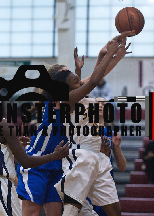 12/27/11 Wilmington DE: Wilmington Charter Senior Center Kelly Perillo #33 blocks Seaford Tyianna Clark #2 shoot under the rim during a Diamond State Classic game Tuesday Dec. 28, 2011 at St. Elizabeth High School in Wilmington Delaware.<br /> <br /> Special to The News Journal/SAQUAN STIMPSON