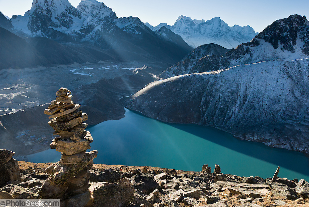 Third Gokyo Lake (Dudh Pokhari, 15,584 feet / 4750 meters), in Sagarmatha National Park, Nepal, in the Himalaya mountain range of Asia. Sagarmatha National Park was created in 1976 and honored as a UNESCO World Heritage Site in 1979.