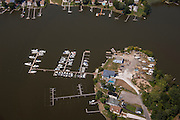 Aerial photo of West Shore Yacht Center in Baltimore Essex Maryland by Jeffrey Sauers of Commercial Photographics