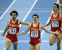 Photo: Rich Eaton.<br /> <br /> EAA European Athletics Indoor Championships, Birmingham 2007. 04/03/2007. Spains Juan Carlos Higuero  #187 celebrates victory in the mens 1500m race ahead of Sergio Gallardo #184 and Arturo Casado #179, also of Spain