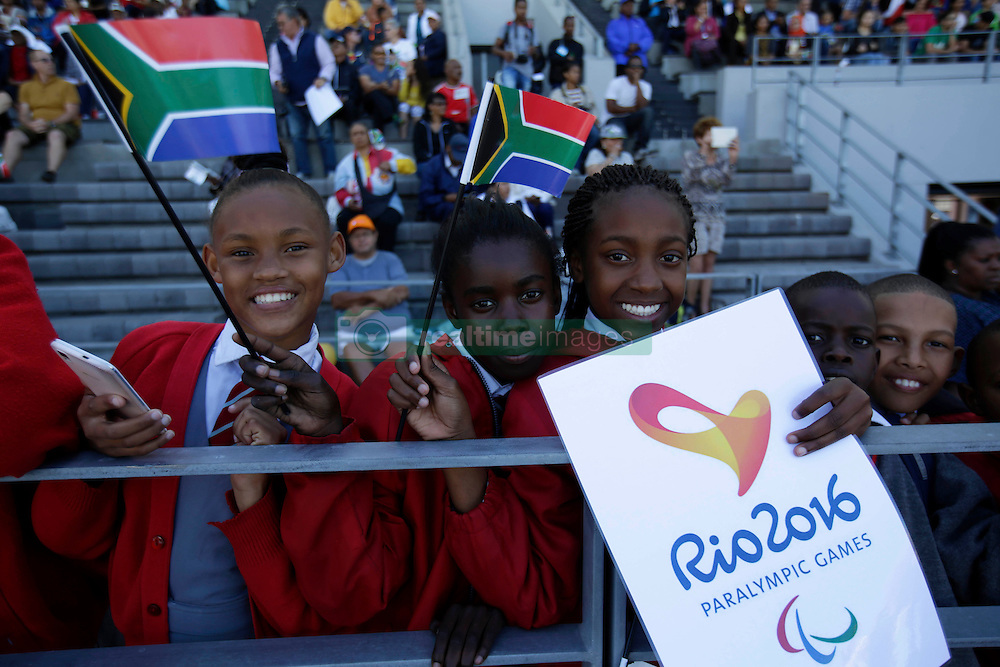 Monday 17th October 2016.<br /> Grand Parade & Greenpoint Athletics Stadium, Cape Town,<br /> Western Cape, South Africa.<br /> <br /> Cape Town Honours South African Olympic And Paralympic Heroes<br /> <br /> Excited school children at Greenpoint Athletics Stadium.<br /> <br /> Cape Town honours the South African Olympic and Paralympic heroes during a special celebratory event held in Cape Town, Western Cape, South Africa on Monday 17 October 2016.<br /> <br /> Picture By: Mark Wessels / Real Time Images.