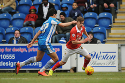 Bristol City's Joe Bryan passes Colchester United's Macauley Bonne - Photo mandatory by-line: Dougie Allward/JMP - Mobile: 07966 386802 - 21/02/2015 - SPORT - Football - Colchester - Colchester Community Stadium - Colchester United v Bristol City - Sky Bet League One