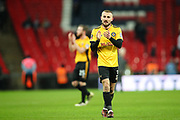 Dan Butler of Newport County applauds the visiting fans during the The FA Cup fourth round replay match between Tottenham Hotspur and Newport County at Wembley Stadium, London, England on 6 February 2018. Picture by Toyin Oshodi.