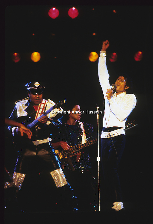 Michael Jackson performs during his 'Victory' Tour on July 14, 1984 at the Texas Stadium in Dallas, Texas.
