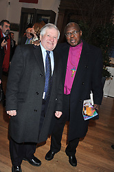 Left to right, PAUL HOCKNEY brother of David Hockney and The Archbishop of York DR JOHN SENTAMU at a private view to celebrate the opening of the Royal Academy's exhibition of work by David Hockney held at The Royal Academy, Burlington House, Piccadilly, London on 17th January 2012.